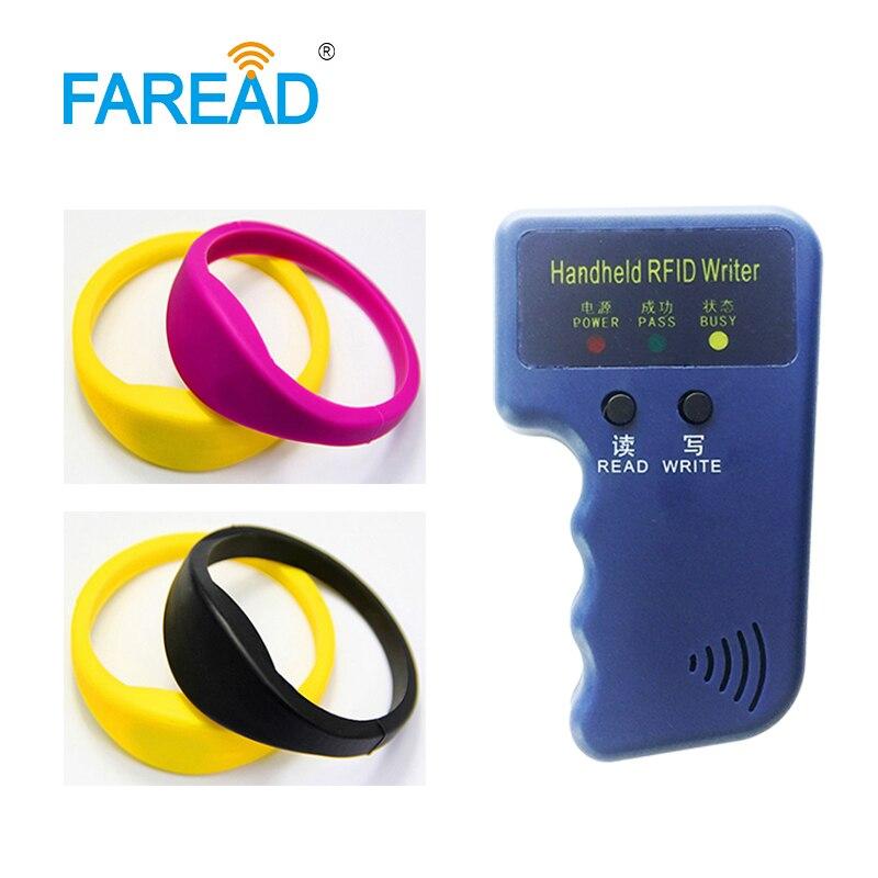 1pc RFID RFID Duplicator Copier Writer +Free Shipping X100pcs 125khz TK4100/EM4100/T5577 RFID Wristband For Sauna Bath Center