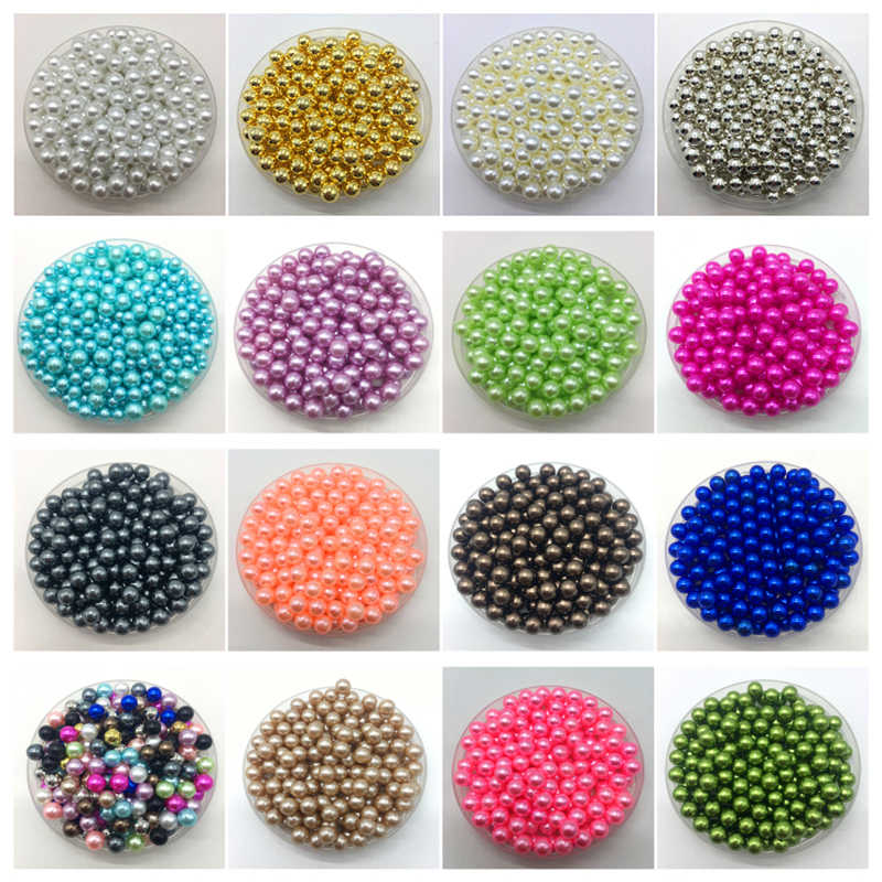 4 6 8 10mm No Hole ABS Imitation Pearls Round Beads DIY Bracelet Earrings Charms Necklace Beads For Jewelry Making