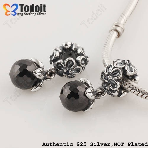 925 Sterling Silver Black Crystal CZ Ball Flower Sakura Pendant Dangle European Bead Charm Fit Pandora Style Bracelets Necklaces