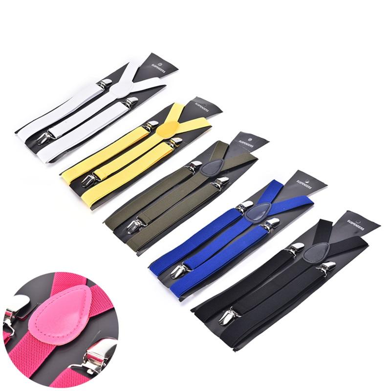 Hot Sale Candy Color Unisex Adult Men's Suits Suspenders 3 Clip Buckle Suspenders For Women Belt Strap Adjustable Shirts Braces