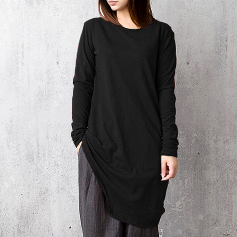 Women Autumn Blouse Shirt Casual Long Sleeve Round Neck Long Top Shirts Elegant Asymmetric Loose Tops Retro Blusas Plus Size 5xl