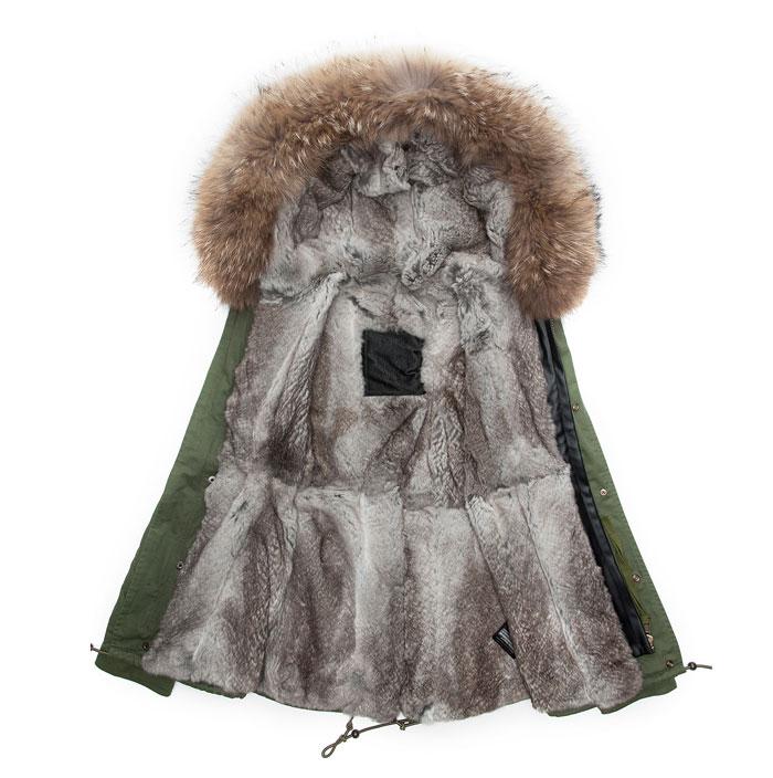 Véritable Longue Doublure Col Hiver Arrivée De Manteau Avec Veste Long Fourrure Réel Lapin Parka Style Chaud Nouvelle vUa8nx