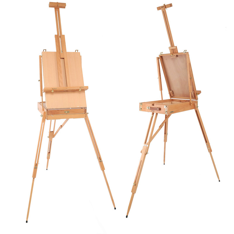 Multifunction folding painting easel beech wooden rod watercolor oil painting box advanced adjustable wood artist tabletop easel italian red elm oil box new four feet easel multi function easel with oil painting box made by natural red ju wood