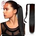 Реальные человеческие волосы в хвост расширения natural black хвостики прямые Длинные wrap around ponytail шиньоны человека для чернокожих женщин
