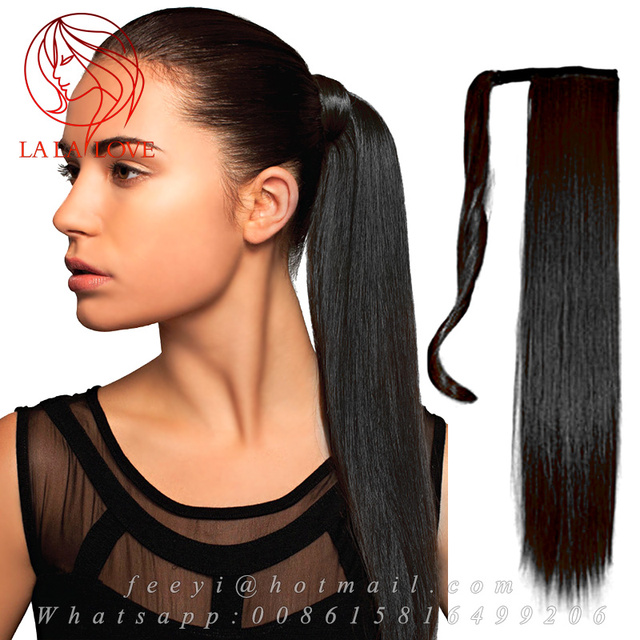 Human Real Hair Ponytail Extensions Natural Black Ponytails Straight