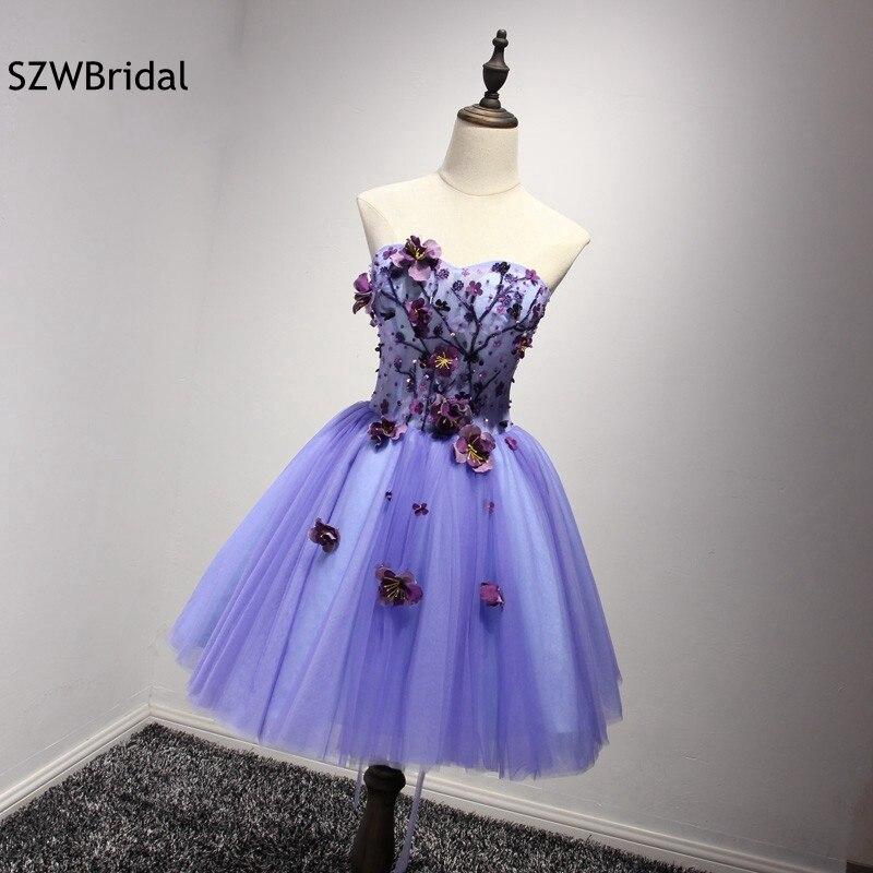 Fashion Sweetheart 3D Flower Beaded Short Cocktail Dresses 2019 Contrast Color Plus Size Party Dress Vestidos De Coctel