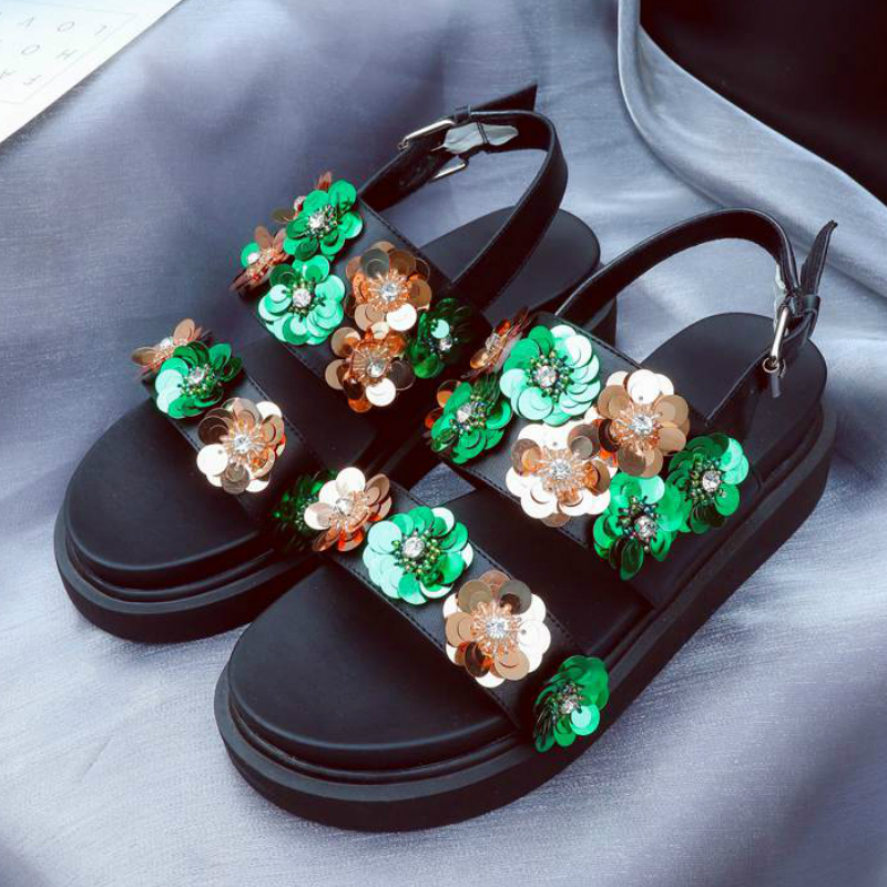 ФОТО 2017 Fashion Buckle Straps High Heels Platform Bling Crystal Flowers Party Women European Designer Increased Runway Sandals 82