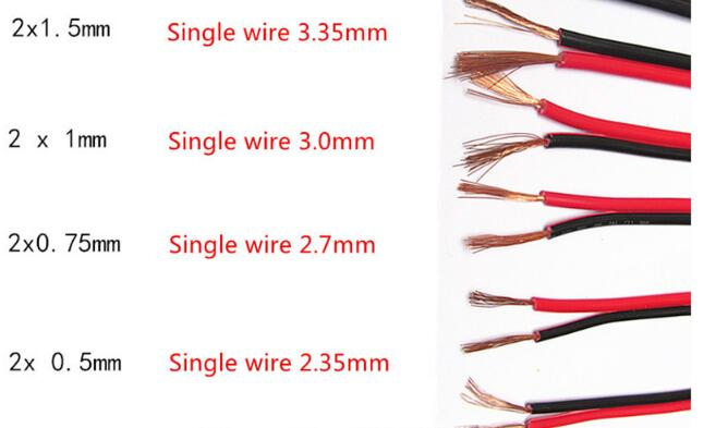 RVB-2*1.5mm Square Copper Red with Black color cable parallel to the outer wire LED Speaker Cable Electronic Monitor power Cord 1meter red 1meter black color silicon wire 10awg 12awg 14awg 16 awg flexible silicone wire for rc lipo battery connect cable