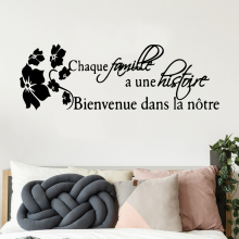 Pretty french quotes famille histoire Pvc Stickers Wall Paper For Baby Kids Rooms Decor Background Living Room Art Decal