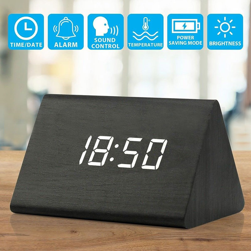 Wood Bamboo LED Alarm Clock Modern Temperature Desk Clock LED Electronic Desktop Digital Table Clock MYDING