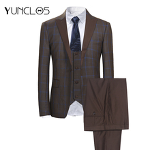 YUNCLOS 3 PCS Classic Men's Suits Single Breasted Plaid Business Suits Tuexdos Wedding Party Dress Casual Slim Men Suit Tuexdos