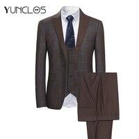 YUNCLOS 3 PCS Classic Men's Suits Single Breasted Plaid Business Suits Tuexdos Wedding Party Dress Casual Slim Men Suit Tuexdos