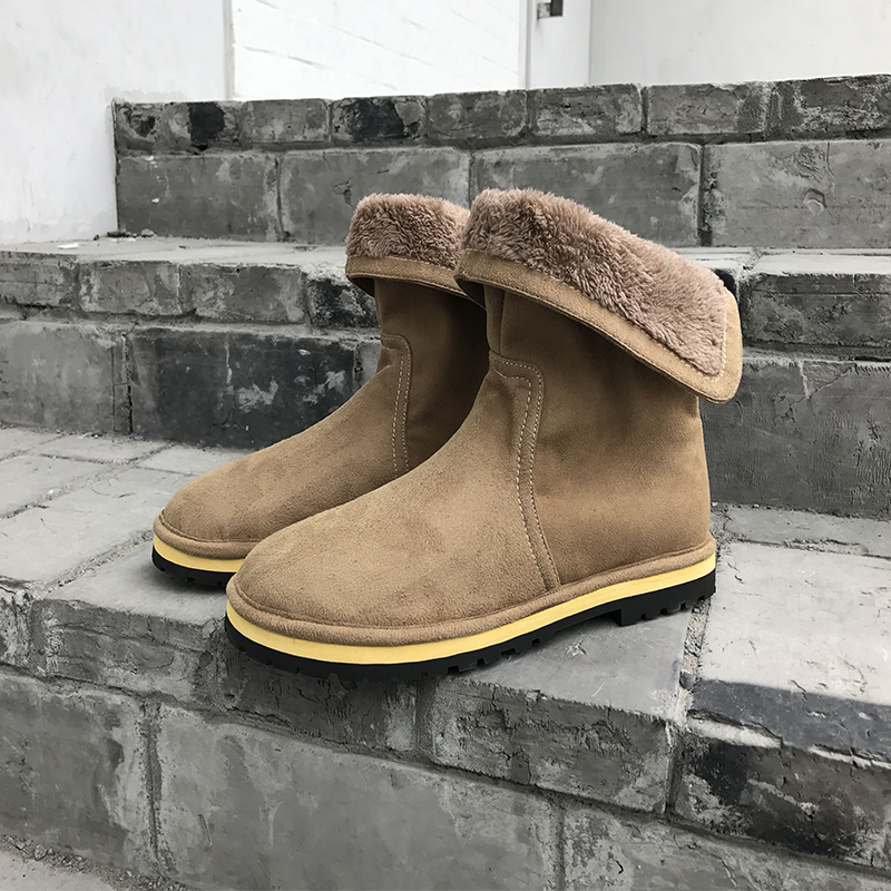 ФОТО New Fashion Men Winter With Fur keep Warm Plush Ankle Suede boots Men's Outdoor Slip On Snow Boots Shoes 38-43