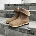 Nuevos Hombres de la Moda de Invierno Con la Piel mantener Caliente Felpa Botines de Gamuza Slip On Botas Zapatos de la Nieve Al Aire Libre de Los Hombres 38-43