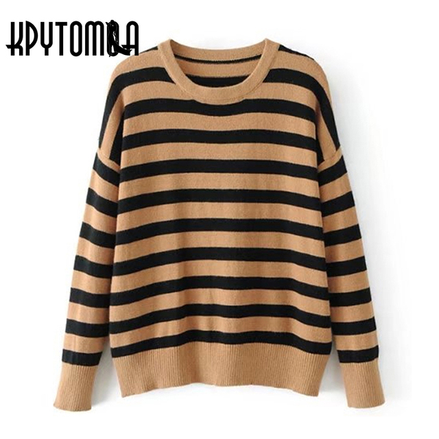 Vintage Chic Brown Black Striped Sweater Women 2017 New Fashion ...