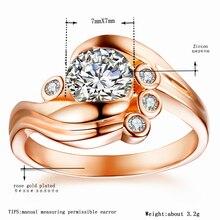 Tocean Rosa oro Color boda anillos para las mujeres Oval corte AAA Zircon Engagement Femme Bijoux Bague tamaño 5 6 7 8 9 10 11 12 W034