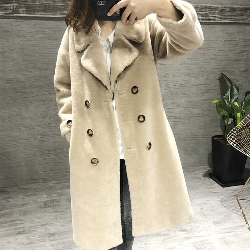 Real Fur Coat Sheep Shearing Fur Winter Coat Women 2019 100% Wool Jacket Korean double-breasted british style long clothes