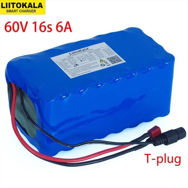 60 v 16S2P 6Ah 18650 ליתיום סוללות 67.2 v 6000 mah Ebike אופניים חשמליים קטנוע עם 20A פריקה BMS 1000 ואט