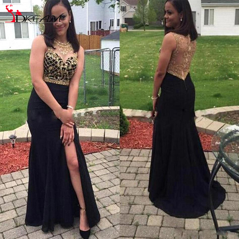 Popular Sheer Beaded Black Gold Prom Dress-Buy Cheap Sheer Beaded ...