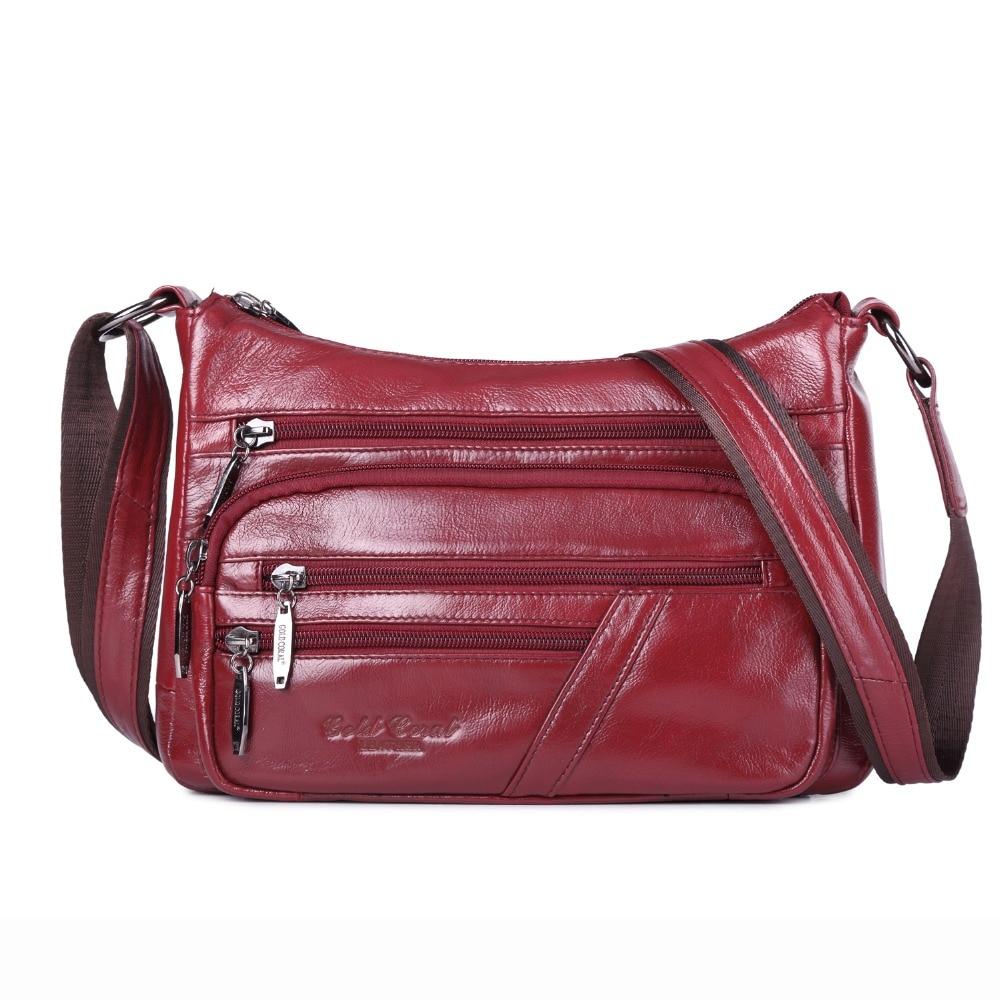 GOLD CORAL Genuine Leather Messenger Bags For Women Cowhide Crossbody Fashion Shoulder Bags luxury Handbags bolsa