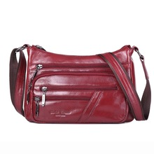 Famous brand gold coral high quality genuine leather messenger bags for women cowhide crossbody fashion shoulder