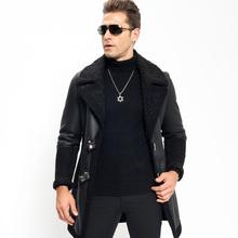 Menfolk Shearling Jacket Long Style Sheepskin Coat New Style Wool Collar Genuine Leather Motorcycle Jacket Flight