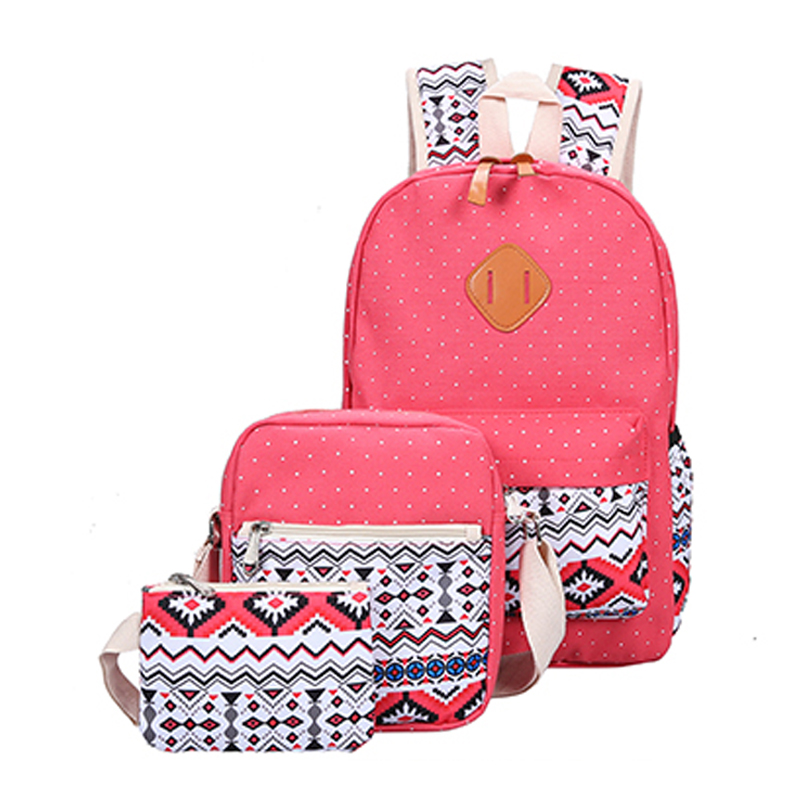 Backpacking Backpack 3 Sets Canvas Printing Backpack Women Cute Lightweight Bookbags Middle High School Bags For Teenage Girls