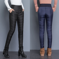 Elastic High Waist Down Women's Long Pants Solid Casual Slim Thick Warm Female Trousers 2019 Winter Plus Size Lady Bottoms Pants