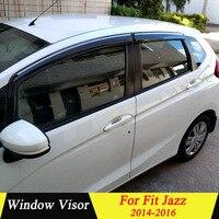 For Honda FIT JAZZ 2014 2015 2016 Plastic Black Window Visor Vent Shades Sun Rain Deflector Guard Auto Accessories 4PCS/SET