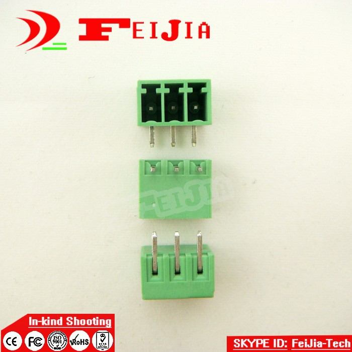 (50pcs/lot) 15EDG-3.5-3P Bend Pin PCB Screw Terminal Block Connector 3.5mm Pitch 3 Pins Plug in hot factory direct wholesale idc40 male plug 40pin port header terminal breakout pcb board block 2 row screw