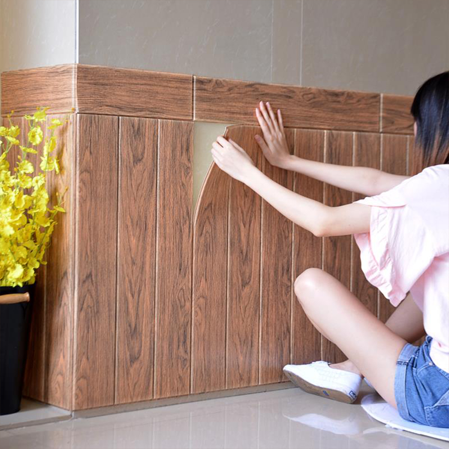 70cm X 70cm PE Foam Waterproof Wall Sticker DIY Self Adhesive Wood Grain Wallpaper for Bedroom Living Room Home Decorative Decal