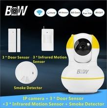 Envío libre cámara de red ip inalámbrico + 3 sensor de puerta 3 p2p infrarrojos motion sensor + detector de humo alarma cámara de seguridad bw12y