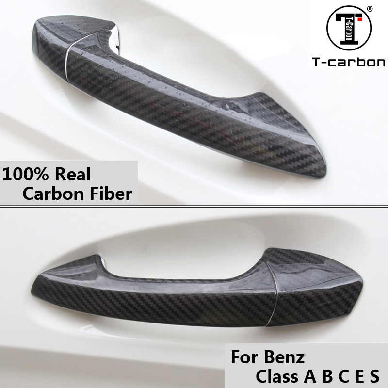 For Mercedes Benz Carbon Fiber Auto Door Handle Knob Exterior Trim Covers for Benz Class A B C E S GLA GLK CLA CLS 2012 2016
