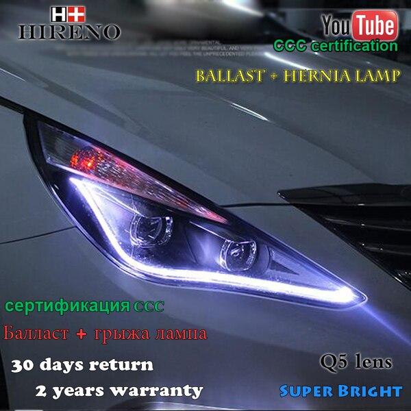 Hireno Headlamp for 2011-2015 Hyundai Sonata Headlight Assembly LED DRL Angel Lens Double Beam HID Xenon 2pcs hireno headlamp for 2015 2016 2017 chevrolet cruze headlight assembly led drl angel lens double beam hid xenon 2pcs