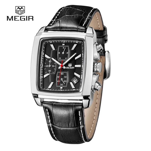 Moda Casual Megir Cronógrafo Militar Reloj de Cuarzo de Lujo de Los Hombres Impermeables de Cuero Analógico Reloj del relogio masculino 2028