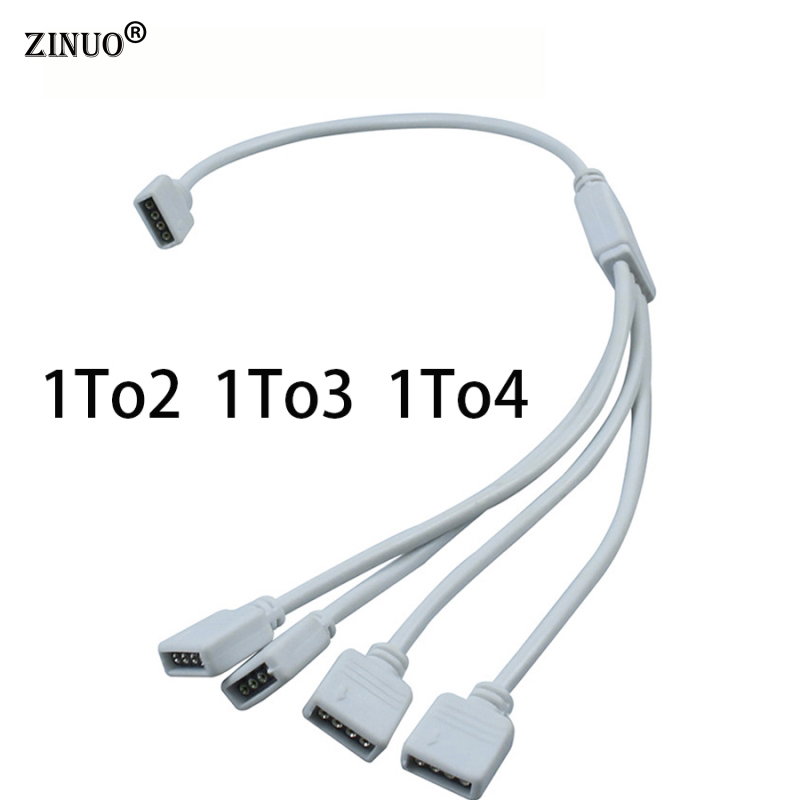 ZINUO 1PC 4 Pin RGB Led Cable 1 TO 2 1 TO 3 1 TO 4 4PIN Female to Female 4pin RGB Splitter Cable For 3528/5050 LED RGB Strip rgbw 5 pin wire connector 1 to 2 1 to 3 1 to 4 female to female splitter connector extension cable for 5050 led strip light