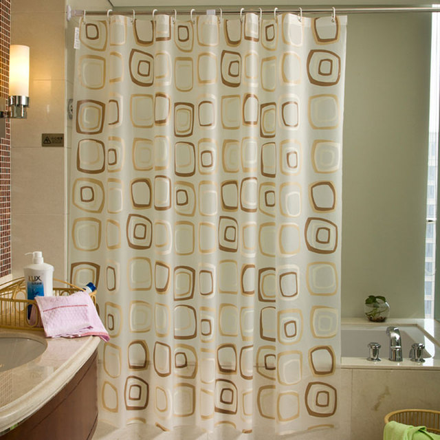 Modern Circles Pattern Waterproof PEVA Shower Curtain Bathroom Set With Hooks For Bath