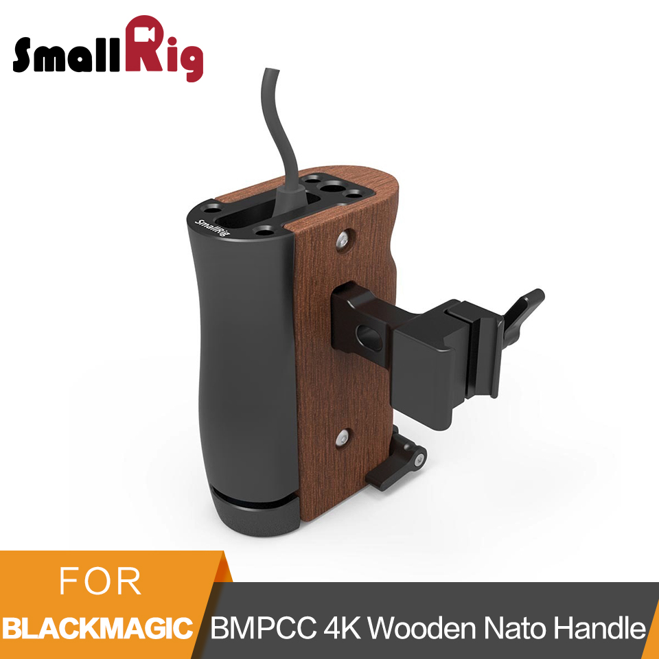 SmallRig NATO Handle Grip For Blackmagic Design Pocket Cinema BMPCC 4K Camera Cage And Samsung T5 SSD Wooden Side Handgrip -2270SmallRig NATO Handle Grip For Blackmagic Design Pocket Cinema BMPCC 4K Camera Cage And Samsung T5 SSD Wooden Side Handgrip -2270
