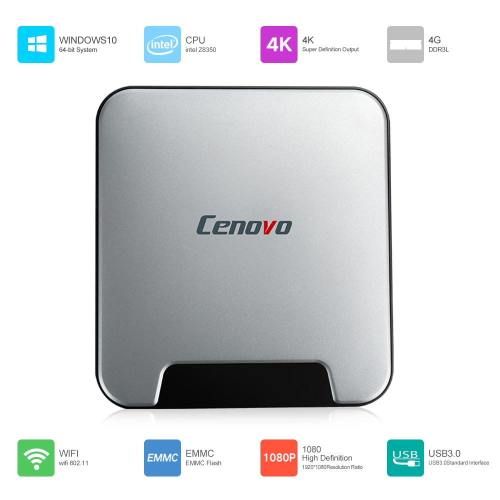 Prix pour D'origine Cenovo Mini PCS Intel X5-Z8350 Quad Core Windows 10 Activé 4 GB RAM 64 GB HDD Mini PC BT 4.0 H.264 WIFI Ultra Mince Boîte