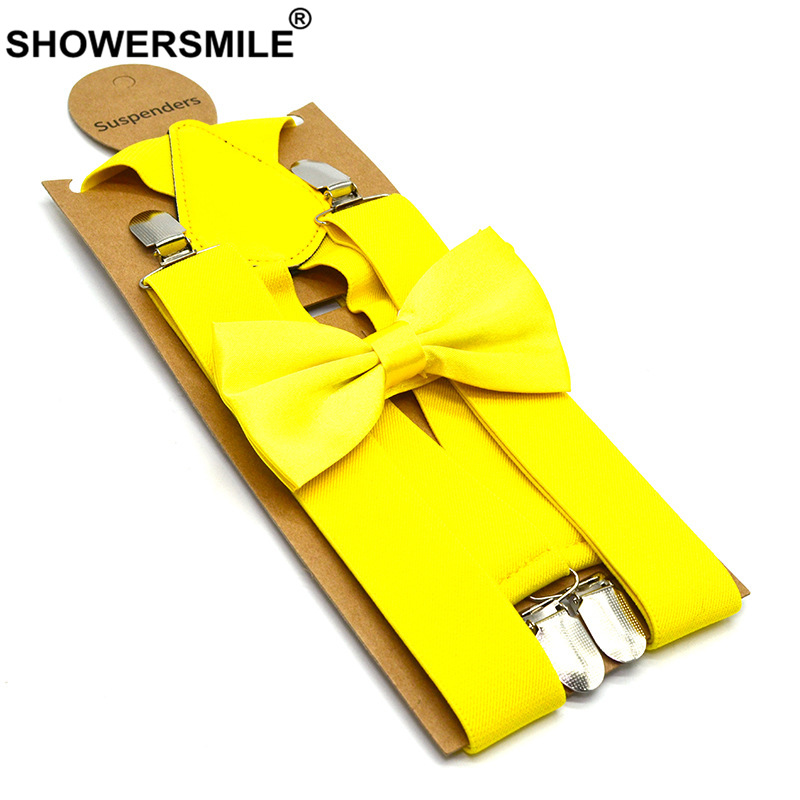 SHOWERSMILE Suspenders Bow Mens Braces for Trousers Solid Yellow Green 4 Clips Wide Shirt Braces Wedding Suspenders with Bow Tie