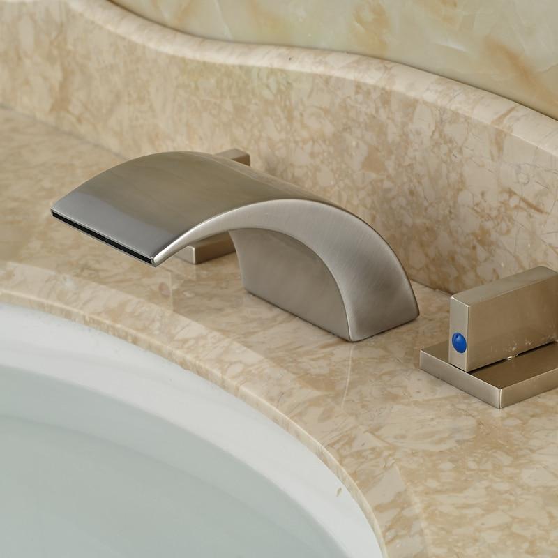 Brushed Nickel Bathroom Sink Basin Faucet Waterfall Spout Dual Handles waterfall spout bathroom sink faucet with double handles nickel brushed finished