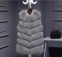 Winter Warm Vest New Arrival Fashion Women Import Coat Fur Vest High-Grade Faux Fur Coat Fox Fur Coats Long Vest Plus Size 4XL