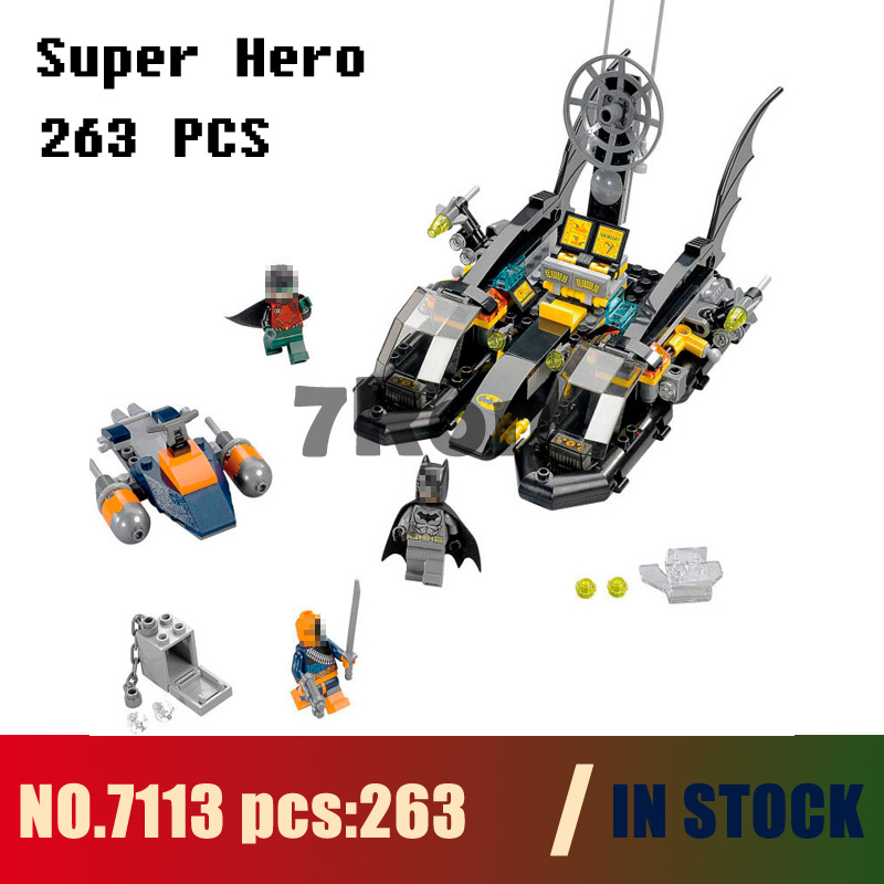 Models building kits 7113 263pcs NBatman Bat Boat Port Super Hero Building Blocks compatible with lego 76034 toys & hobbies