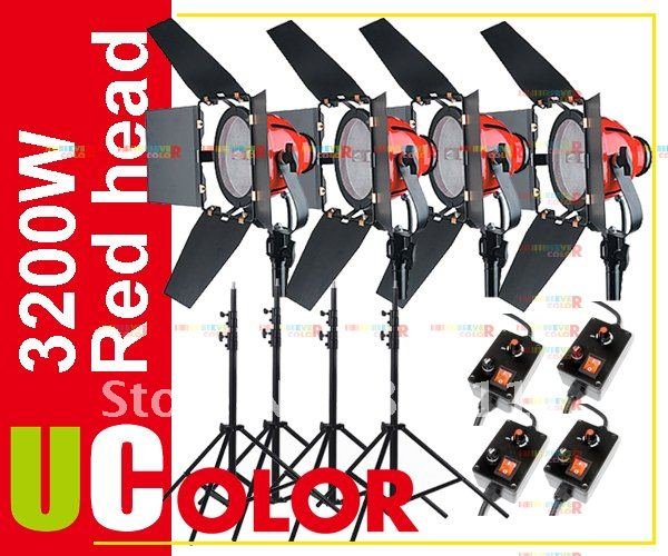 4 x 800W Studio Red Head with Dimmer Control Continuous Video Light Kit ashanks 800w studio video red head light with dimmer continuous lighting bulb free shipping