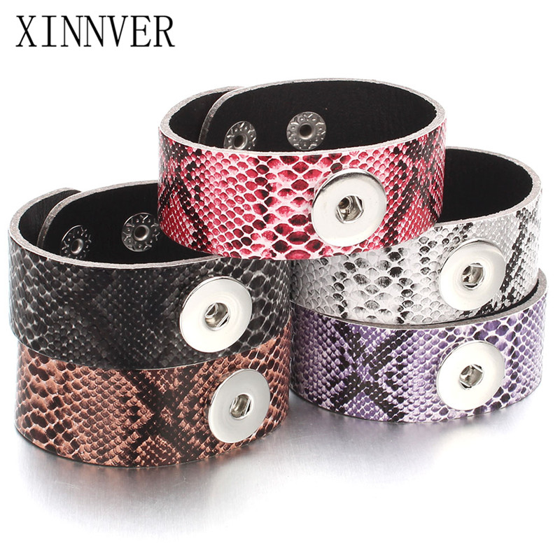 Newest 5 Color Cheaper Serpentine PU Leather Snap Bracelet Bangles 18mm Snap Button Jewelry For Women Valentines Day Gift ZG512