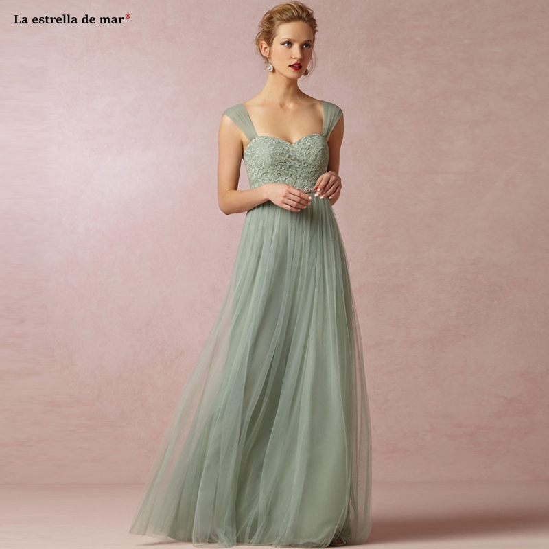 Vestido Boda Mujer Invitada New Lace Tulle Sexy Sweetheart Backless A Line Sage Green Wedding Party Dress Long