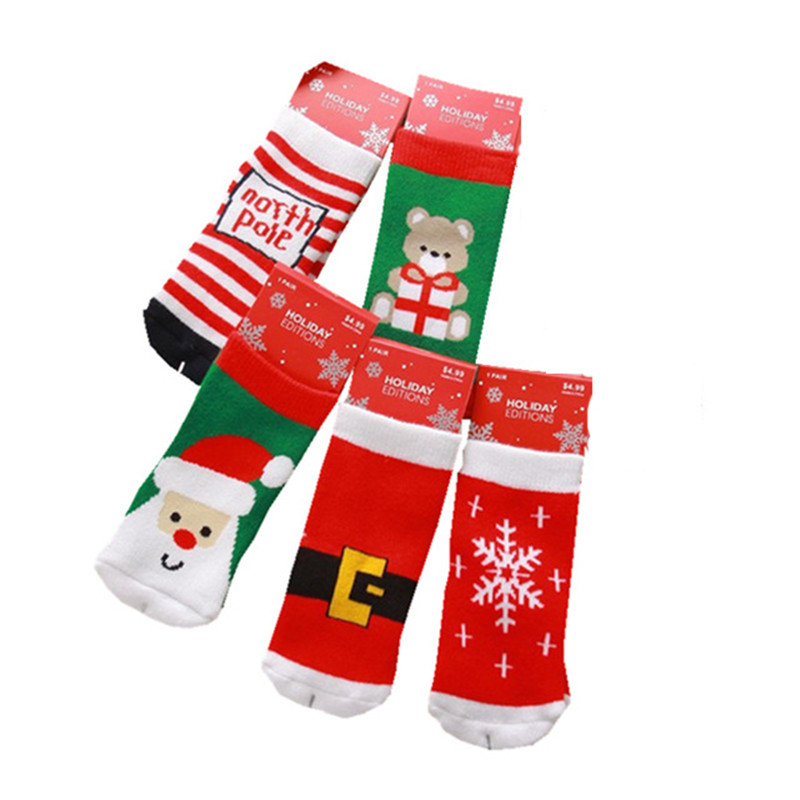 1 Pair Cotton Spring Winter Autumn Baby Girls Boys Kids Socks Children Striped Terry Snowflake Santa Claus Christmas Bear