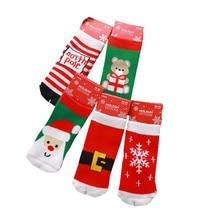 1 Pair Cotton Spring Winter Autumn Baby Girls Boys Kids Socks Children Striped Terry Snowflake Santa Claus Christmas Bear