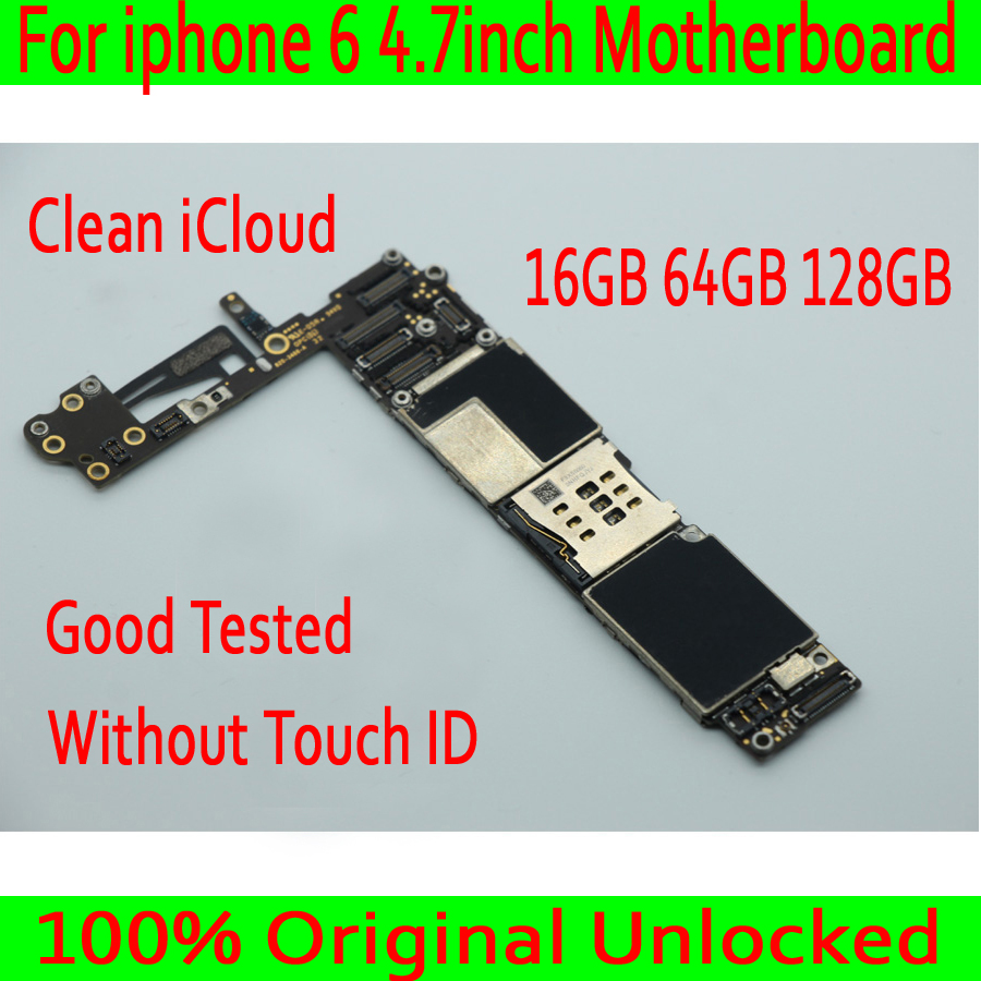 16GB / 64GB / 128GB for iphone 6 4.7 inch Motherboard without Touch ID,100% Original for iphone 6 Mainboard Factory unlocked