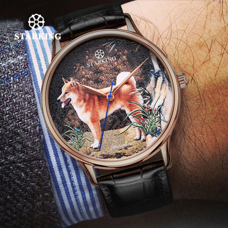 <font><b>STARKING</b></font> Limited Edition <font><b>Watch</b></font> China Year Of The Dog Design <font><b>Mechanical</b></font> <font><b>Watch</b></font> Fashion Business <font><b>Watch</b></font> Men 5ATM Retro Hodinky 2018 image
